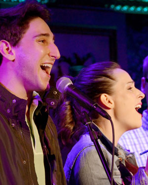 "Ben Fankhauser and Hannah Elless sing ""It Could Totally Happen"" at Feinstein's 54 Below on April 23, 2014. Photo by Kevin H. Lin."